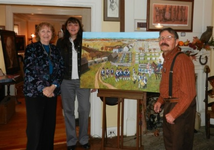 The unveiling of Wagner's painting of the massing of the French troops at East Hartford in 1782. Left to right: Jini Jones Vail, Alisha Desilva, David R. Wagner
