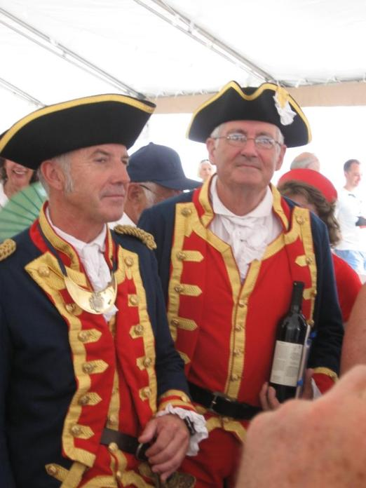 Hermione Captain Yann Cariou and his Executive officer at Newport July 8, 2015 Photo: courtesy John Vail