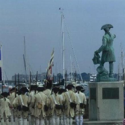 Statue of General Rochambeau, King Park, Newport, RI beside the Rhode Island Regiment, in white, who stand facing the sea and France. Photo: John Beglan