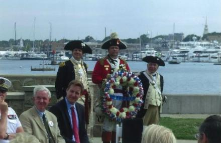 Ready for the laying of the wreath at the Statue of Rochambeau. Photo: John Beglan